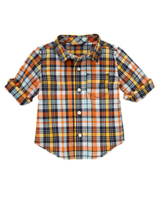 Midnight Navy Plaid Plaid Half Cuff Shirt by Gymboree