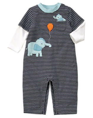 Baby Midnight Navy Stripe Stripe Elephant One-Piece by Gymboree