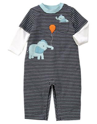 Midnight Navy Stripe Stripe Elephant One-Piece by Gymboree