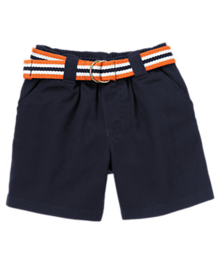 Midnight Navy Belted Short by Gymboree