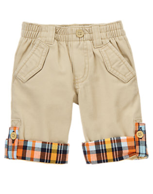 Pale Khaki Plaid Cuff Khaki Pant by Gymboree