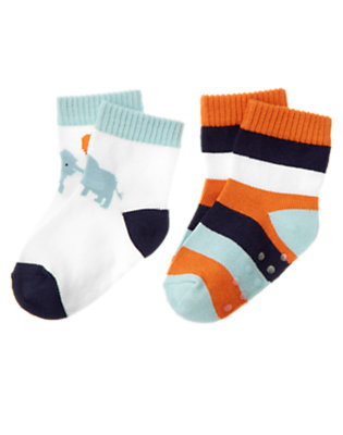 Baby White/Elephant Blue Stripe Elephant Stripe Sock Two-Pack by Gymboree