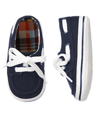 Midnight Navy Canvas Boat Crib Shoe by Gymboree