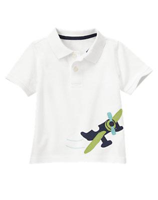 Toddler Boys White Sea Plane Pique Polo Shirt by Gymboree