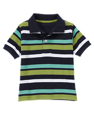 Toddler Boys Midnight Blue Multi Stripe Stripe Pique Polo Shirt by Gymboree