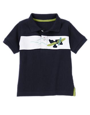 Midnight Blue Sea Plane Stripe Pique Polo Shirt by Gymboree