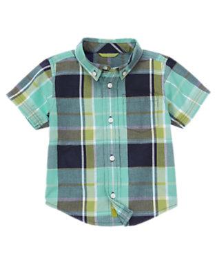 Sea Blue Plaid Pocket Plaid Shirt by Gymboree