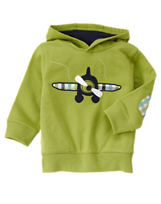 Spring Green Sea Plane Terry Hoodie by Gymboree