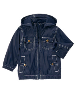 Toddler Boys Midnight Blue Hooded Windbreaker Jacket by Gymboree