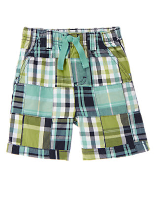 Spring Green Patchwork Plaid Patchwork Short by Gymboree