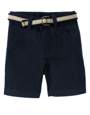 Midnight Blue Belted Chino Short by Gymboree