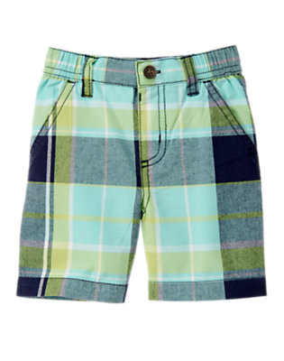 Sea Blue Plaid Plaid Short by Gymboree
