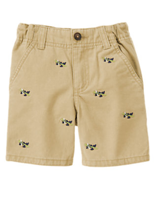 Khaki Sea Plane Embroidered Short by Gymboree