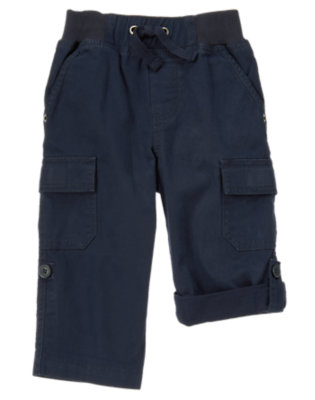 Midnight Blue Roll Cuff Canvas Cargo Pant by Gymboree