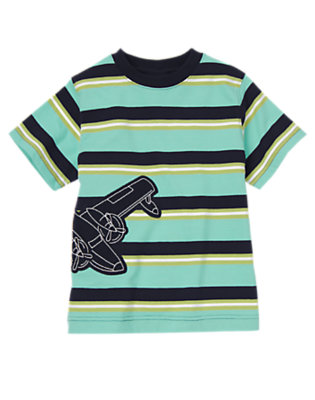 Sea Blue Multi Stripe Airplane Stripe Tee by Gymboree
