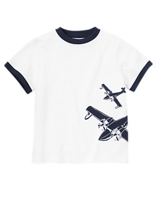 White Airplane Ringer Tee by Gymboree