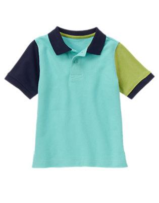 Sea Blue Colorblock Pique Polo Shirt by Gymboree