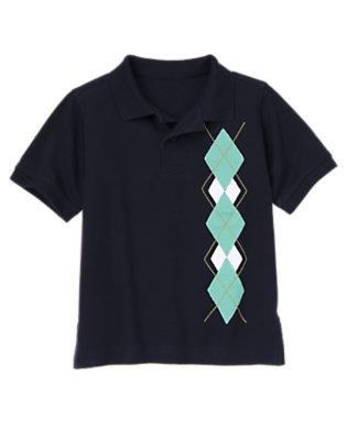 Boys Midnight Blue Argyle Pique Polo Shirt by Gymboree