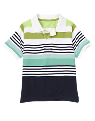 White Multi Stripe Stripe Pique Polo Shirt by Gymboree