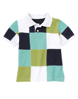 White Patchwork Patchwork Pique Polo Shirt by Gymboree