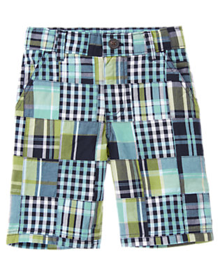 Boys Midnight Blue Patchwork Plaid Patchwork Short by Gymboree