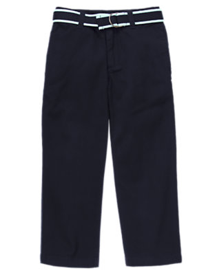 Boys Midnight Blue Belted Chino Pant by Gymboree