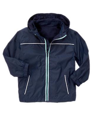 Midnight Blue Hooded Windbreaker Jacket by Gymboree