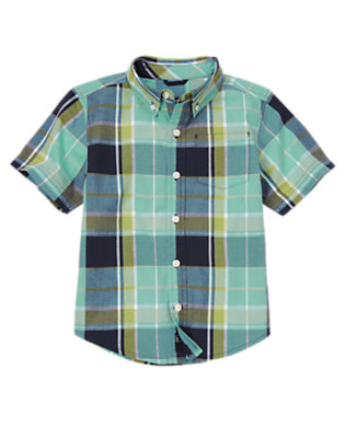 Sea Blue Plaid Pocket Plaid Shirt by Gymboree