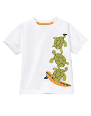 White Surfing Sea Turtles Tee by Gymboree