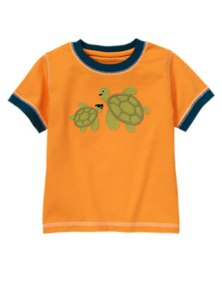 Toddler Boys Papaya Orange Sea Turtles Ringer Tee by Gymboree