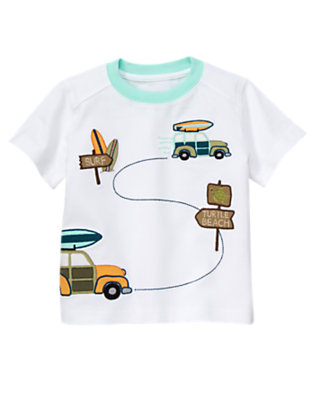 Toddler Boys White Turtle Beach Tee by Gymboree