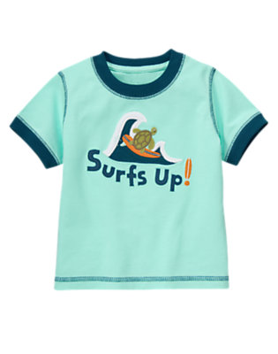 Toddler Boys Tidal Blue Surf's Up Sea Turtle Tee by Gymboree