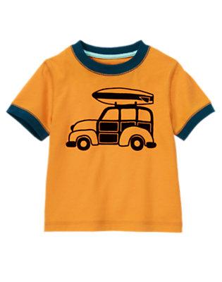 Toddler Boys Papaya Orange Surf Station Wagon Tee by Gymboree