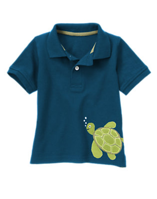 Toddler Boys Surf Blue Sea Turtle Pique Polo Shirt by Gymboree