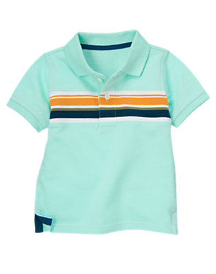 Tidal Blue Chest Stripe Pique Polo Shirt by Gymboree