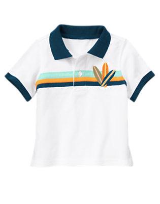 Toddler Boys White Surfboard Pieced Stripe Pique Polo Shirt by Gymboree