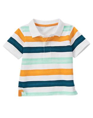 Toddler Boys White Stripe Watercolor Stripe Polo Shirt by Gymboree
