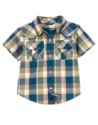 Dusty Olive Green Plaid Snap Pocket Plaid Shirt by Gymboree