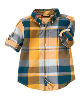Toddler Boys Papaya Orange Madras Roll Cuff Plaid Shirt by Gymboree