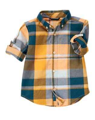 Papaya Orange Madras Roll Cuff Plaid Shirt by Gymboree