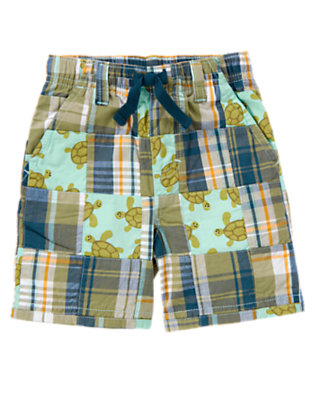 Dusty Olive Green Patchwork Sea Turtle Plaid Patchwork Short by Gymboree