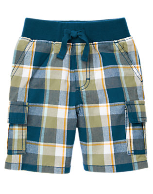 Dusty Olive Green Plaid Plaid Pull-On Cargo Short by Gymboree
