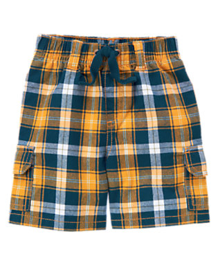 Papaya Orange Plaid Plaid Pull-On Cargo Short by Gymboree