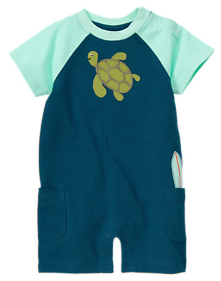 Surf Blue Sea Turtle Surfboard One-Piece by Gymboree