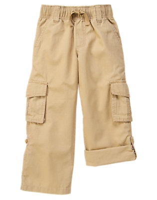 Boys Khaki Roll Cuff Ripstop Cargo Pant by Gymboree