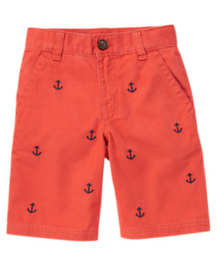 Submarine Orange Anchor Embroidered Twill Short by Gymboree
