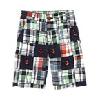 Anchor Embroidered Plaid Patchwork Short
