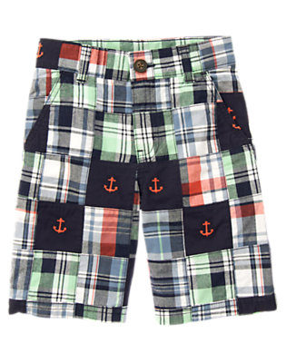 Midnight Blue Patchwork Anchor Embroidered Plaid Patchwork Short by Gymboree