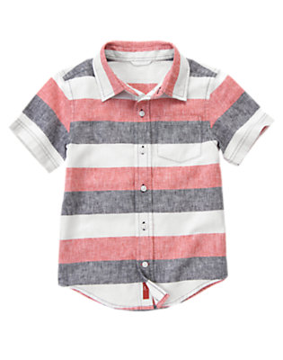 Ivory Stripe Linen Blend Shirt by Gymboree