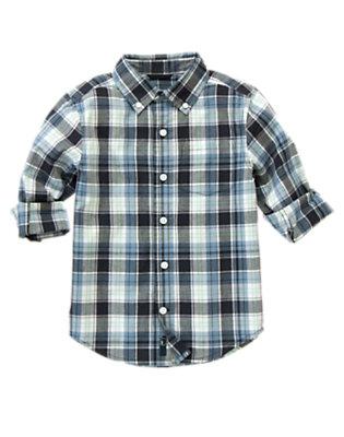 Boys Midnight Blue Plaid Plaid Shirt by Gymboree
